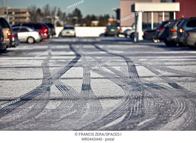 Tire Tracks in a Parking Lot