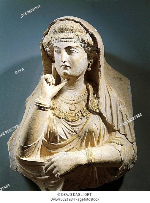 Funerary relief depicting a woman with jewels, from the Valley of the Tombs, Syria. Roman Civilization, 2nd-3rd Century.  Palmira, Museo Di Palmira