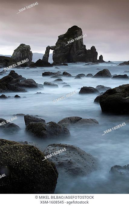 Coastline in San Juan de Gaztelugatxe  Bermeo , Biscay, Basque Country, Spain