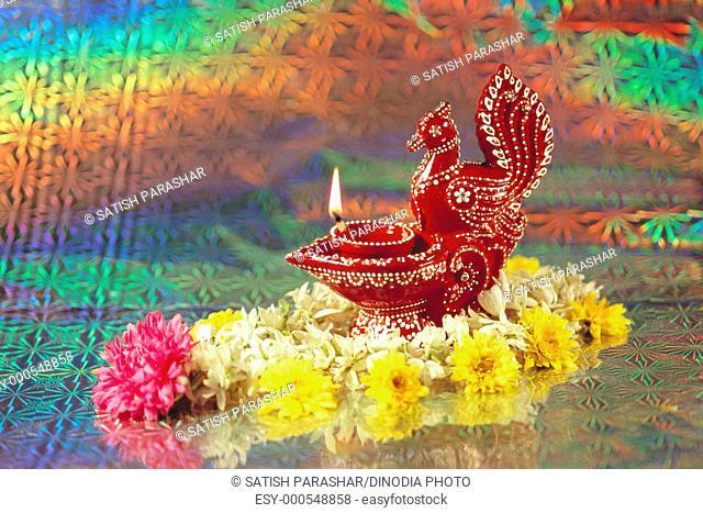 Diya flower design for Diwali deepawali greeting card