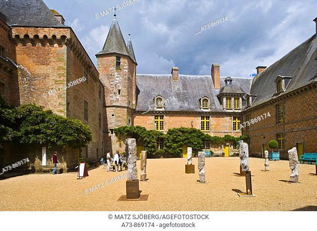 Castle of Carrouges courtyard, Normandie-Maine Regional Natural Park. Orne, Basse-Normandie, France