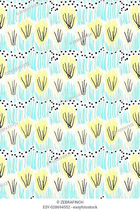 Artistic color brushed yellow green bushes.Hand drawn with ink and marker brush seamless background.Abstract color splush and scribble design