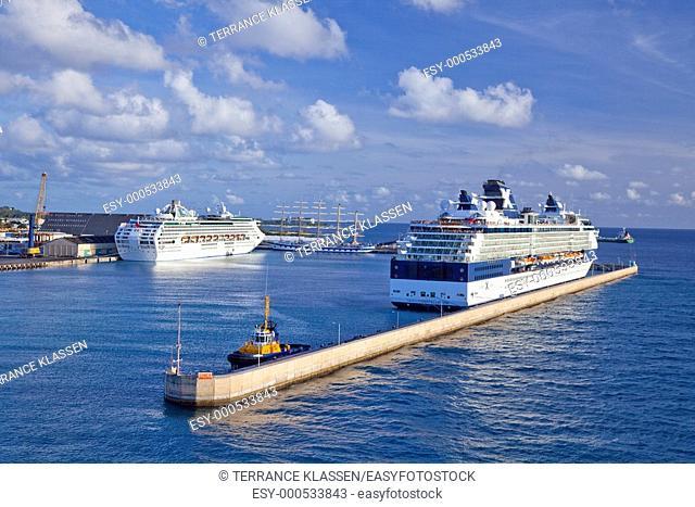 Cruise ships docked at Bridgetown, Barbados, West Indies