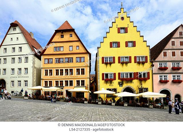 Outdoor Cafe Shopping Rothenburg Germany DE Franconia Bavaria