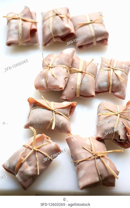 Involtini al radicchio (mortadella parcels filled with balsamic and honey radicchio, Italy)