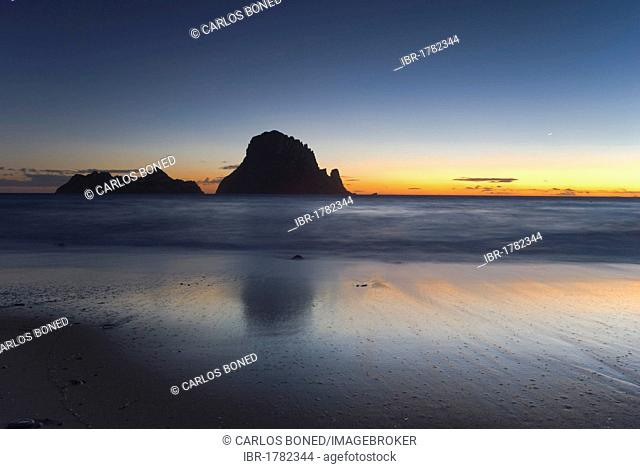 Sunset view of the cliff island of Es Vedrá, Ibiza, Spain, Europe