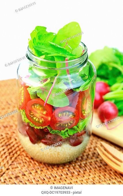 Mixed salad in jar