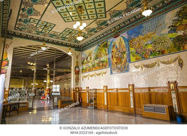 Estacion del Norte, railway Station. Ceramic by valencian painter Gregorio Muñoz Dueñas. Valencia. Comunidad Valenciana. Spain