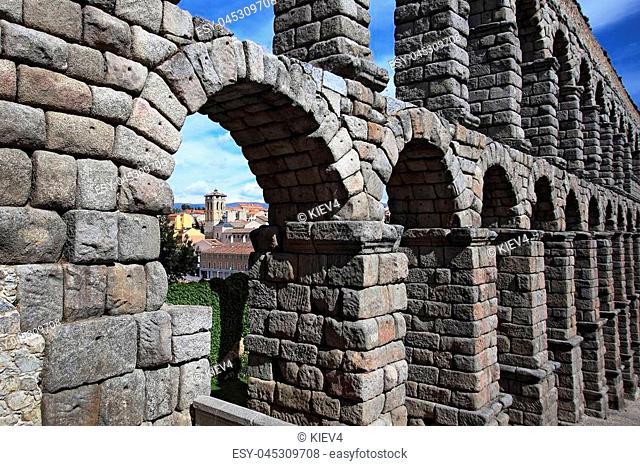 Segovia, Spain. View at Plaza del Azoguejo and the ancient Roman aqueduct