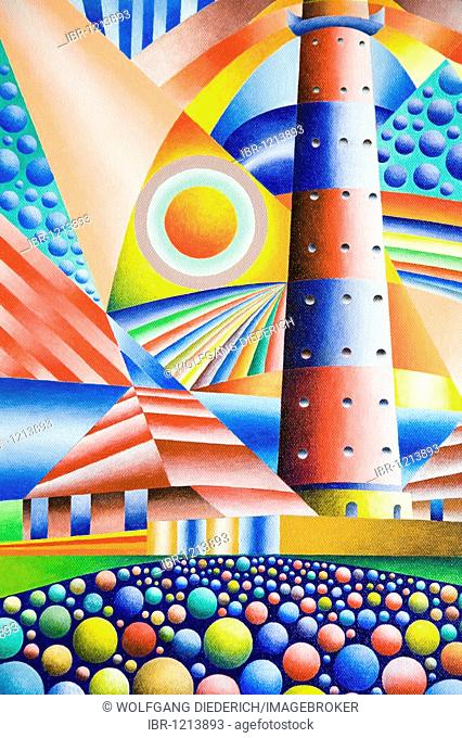 The lighthouse Westerheversand on the North Sea, acrylic picture, artist Gerhard Kraus, Kriftel, Germany