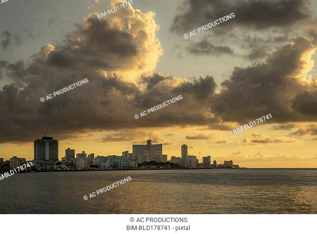 Havana city skyline and cloudy sky, Havana, Cuba