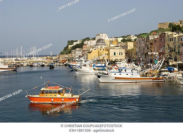 Marina Grande of Sancio Cattolico, Procida island, Campania region, southern Italy, Europe