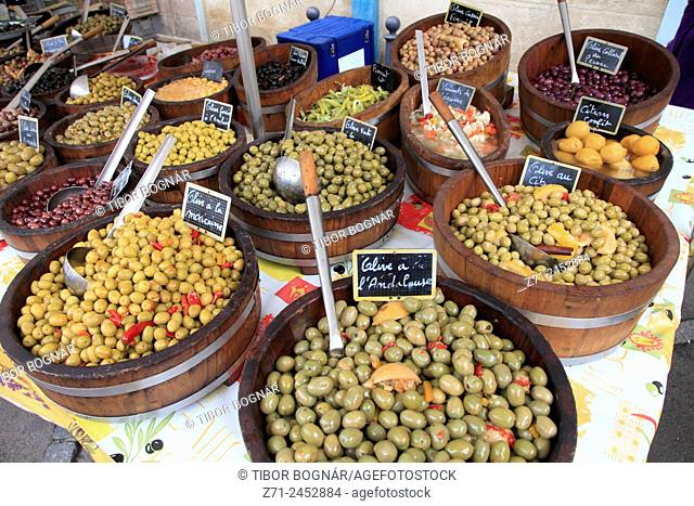 France, Bourgogne, Dijon, market, food, olives