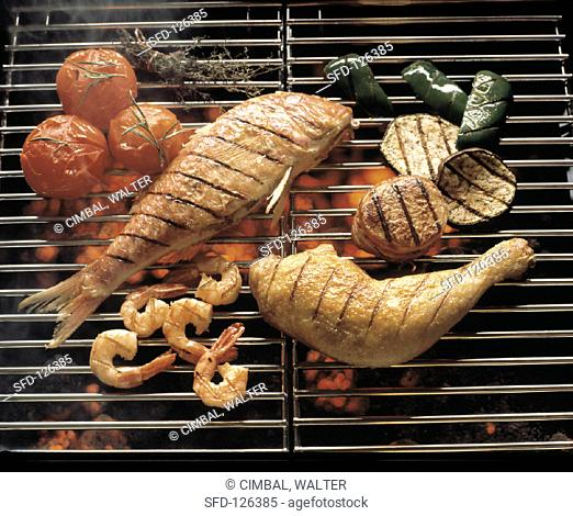 Red Fish and Chicken Leg, Shrimp on the Grill