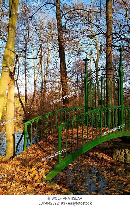 Foot Bridge in Chateau Park, Teplice, Usti nad Labem Region, Czech Republic