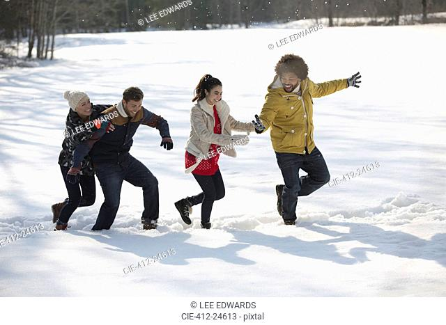 Friends playing in snow