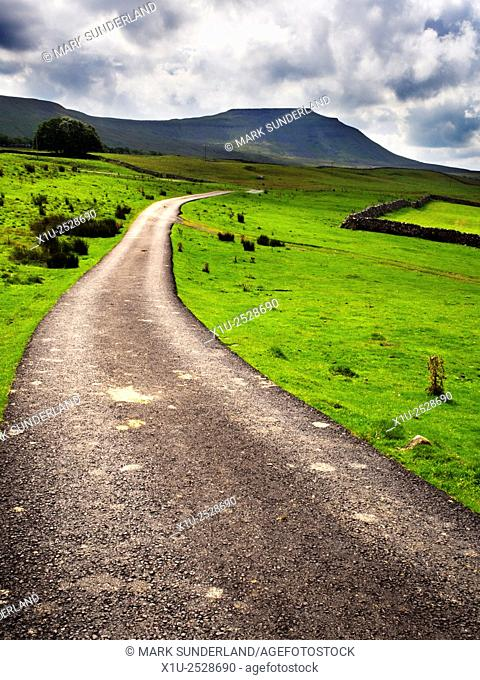 Ingleborough from Ivescar Lane near Ribblehead Yorkshire Dales North Yorkshire England