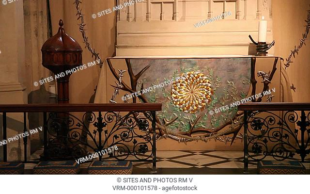 CU, TILT up, interior, the altar frontal at the Gethsemane Chapel. The Gethsemane frontal, from which the Chapel takes its present name