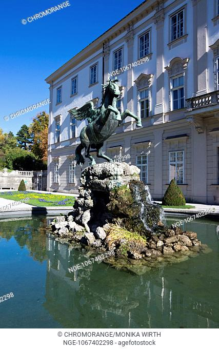 Mirabell Palace and Pegasusbrunnen fountain in Mirabell Gardens, Salzburg, Salzburger Land, Austria, Europe