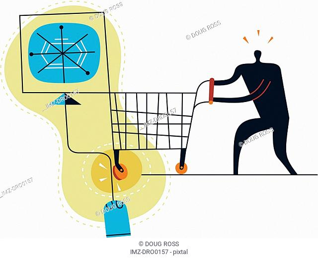 Silhouette of a man with shopping cart encountering a speed bump