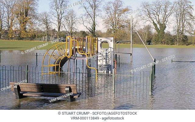 Floods in a play ground at Mountsorrel, Leicestershire