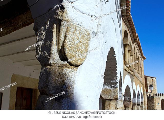 Detail of the arcades of the famous Garrovillas de Alconétar main square, one of the twelve main squares of Spain and declarated BIC Cultural Interest Goods...