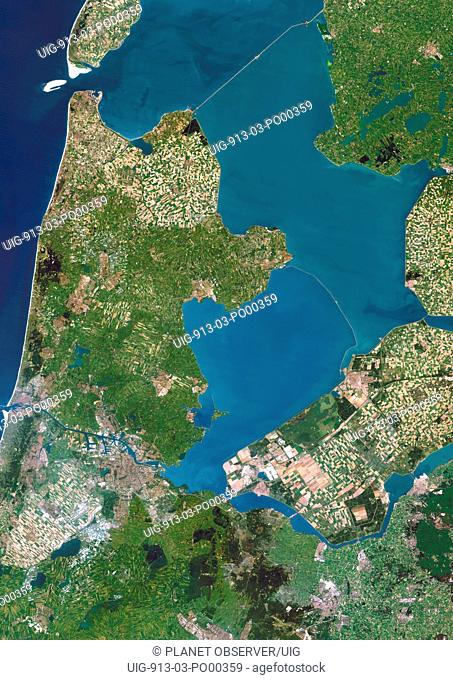 Polders, Netherlands, True Colour Satellite Image. Polders in the Netherlands, true colour satellite image. Polders are land reclaimed from the sea