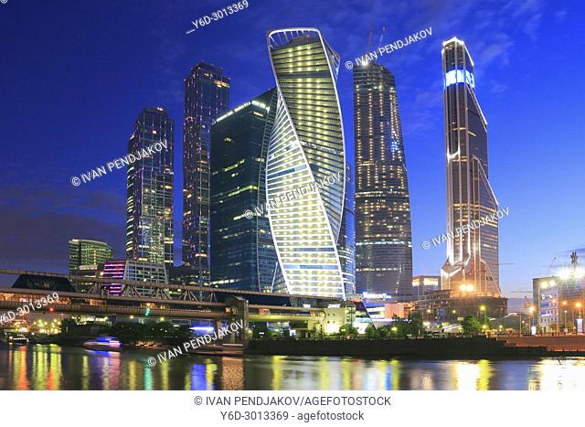 Moscow International Business Center at Dusk, Russia