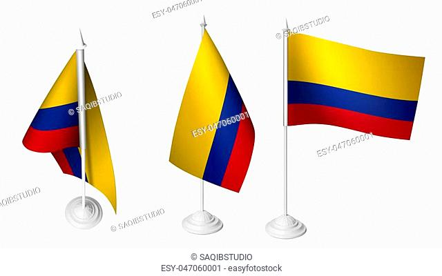 Isolated 3 Small Desk Colombia Flag waving 3d Realistic Colombian Desk Flag