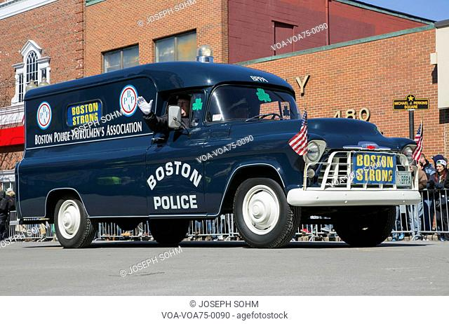Boston Strong, Police, St. Patrick's Day Parade, 2014, South Boston, Massachusetts, USA