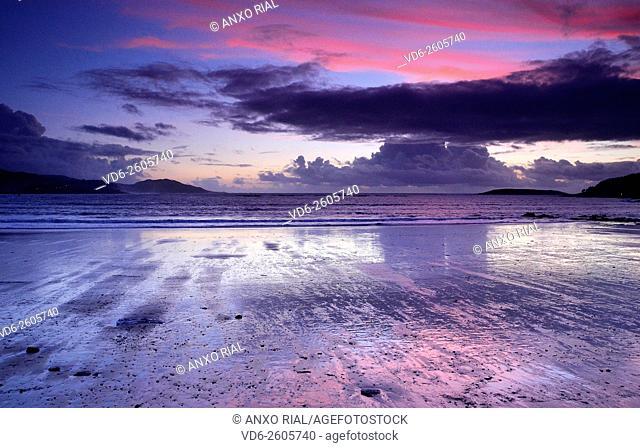 Spain. Galicia. Pontevedra. Rias Baixas. Gets dark in Playa America. Nigran