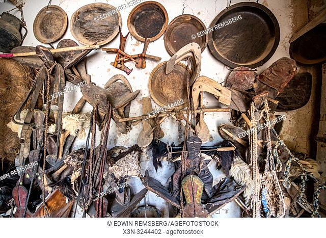 Collection of artifacts from Berber nomads at Muse de la Memoire Nomade in Tighmert Oasis, Morocco