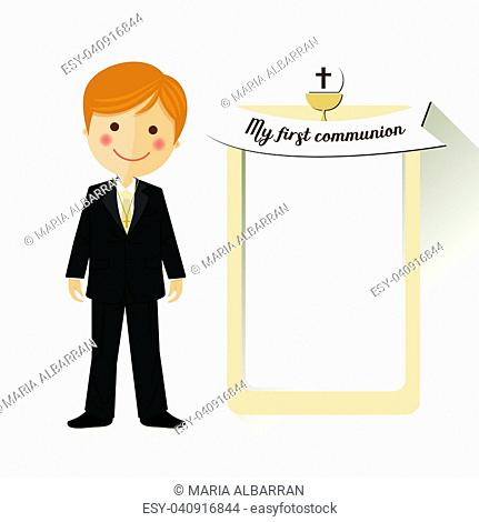 Child costume in her first communion dress invitation with message on ocher color background