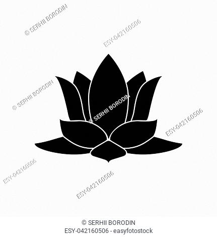 Lotus flower it is black color icon