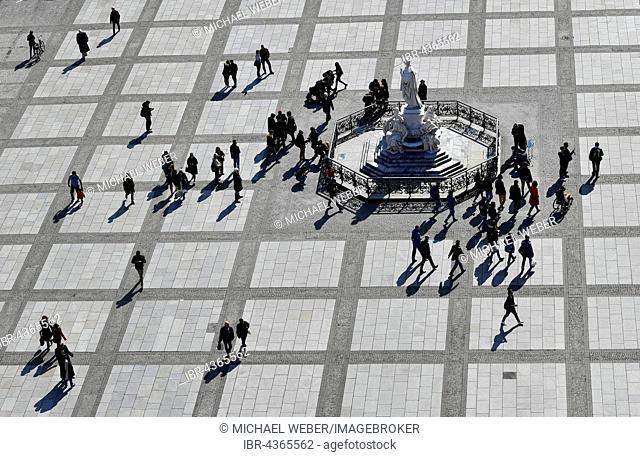 Pedestrians at Schiller Monument, Gendarmenmarkt, Berlin, Germany