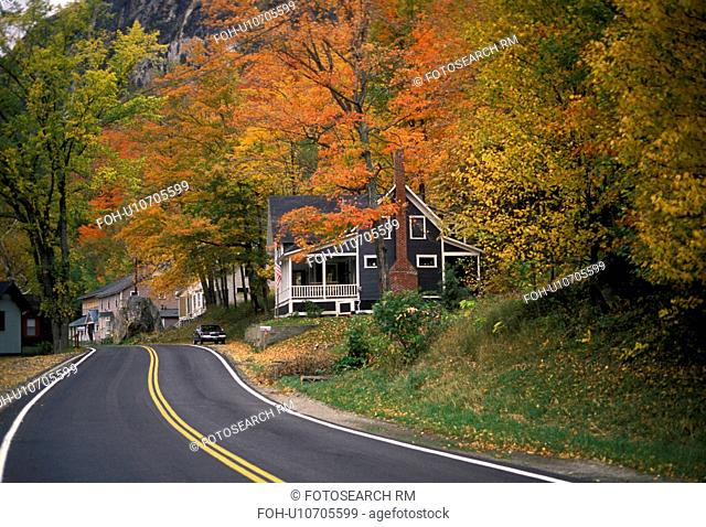 road, fall, Vermont, A winding road passes through [cottages, houses] along Lake Willoughby in Westmore