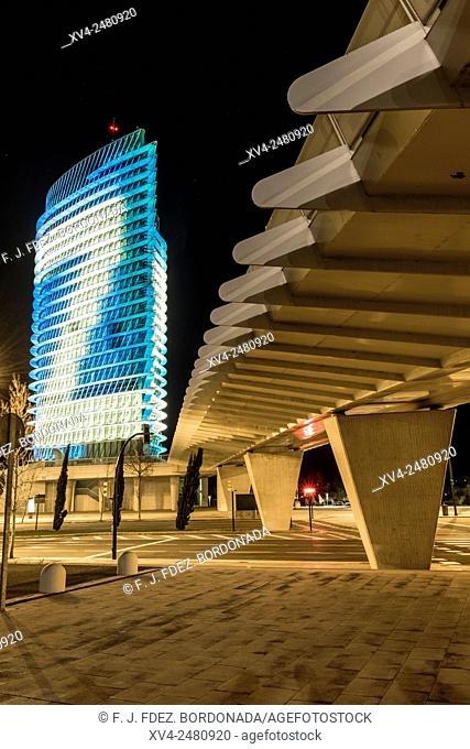 Water Tower by Night. Torre del Agua is a 249 ft, high tower built at the Expo 2008 site in Zaragoza, Spain. Designed by Enrique de Teresa and built in steel...