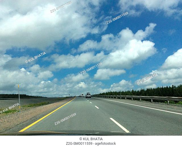 Cars on a divided highway, Canada