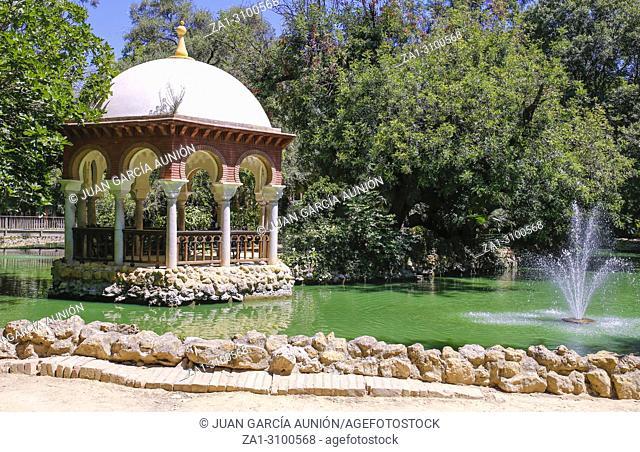 Maria Luisa Park pond, Seville, Andalusia, Spain. Romantic Pavillion