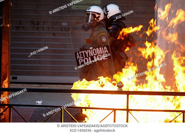 Greek left-wing groups and unions protested amid heated condemnations of alleged police brutality following the critical injury of a protester at an...