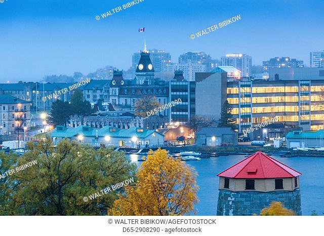 Canada, Ontario, Thousand Islands Region, Kingston, elevated town view, dusk