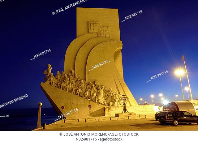 Monument to the Discoveries at dusk, Belem, Lisbon, Portugal