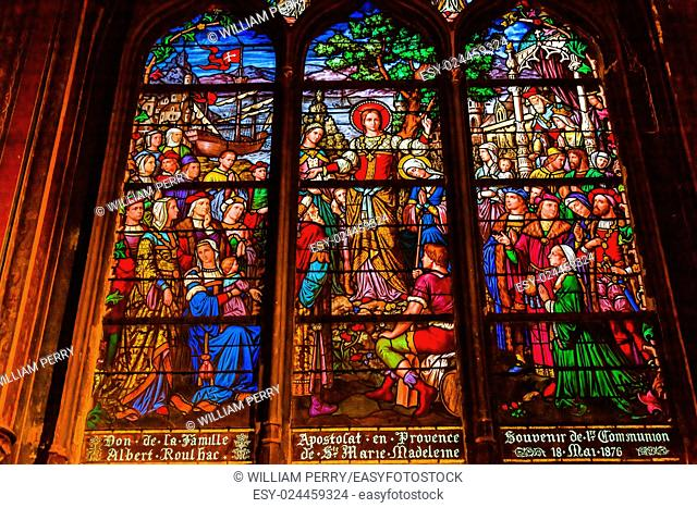 Saint Madeline Sophie Barat, founder Society of Sacred Heart, Stained Glass Saint Severin Church Paris France. Saint Severin one of oldest churches Paris...