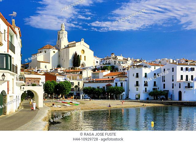 Spain, Europe, Catalonia, Girona Province, Costa Brava Coast, Cadaques, town, Dali, bay, beach, blue, boats, cadaques, church, coast, Costa Brava, landscape