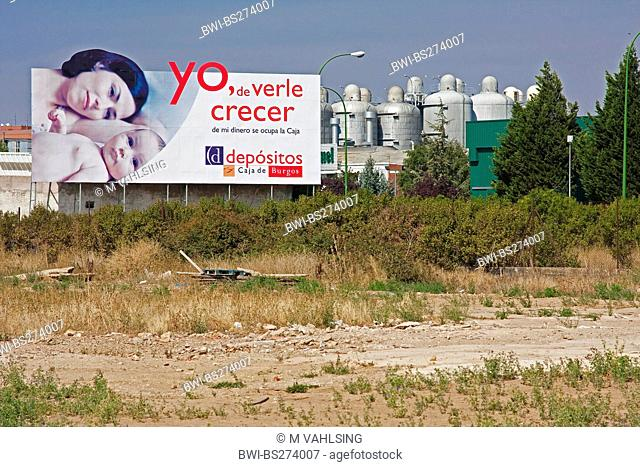 advertisement hoarding in front of an industrial area at the gates of the town, Spain, Kastilien und Len, Burgos