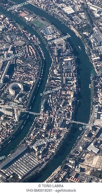Seine river aerialview. Paris. France