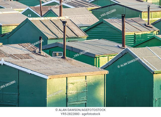 Redcar, north east England. United Kingdom. Fishermans huts at the South Gare near Redcar on the north east coast of England