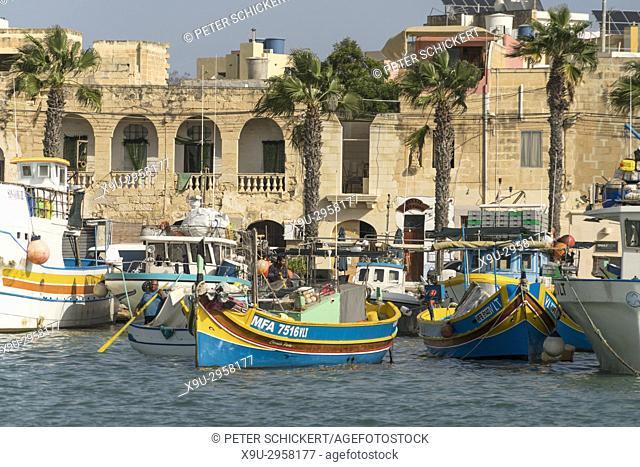 fishing boats at the harbour in Marsaxlokk, Malta