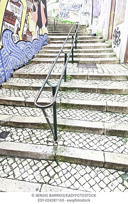 Stairs in Alfama district, Lisbon, detail of a old sclera in a typical neighborhood