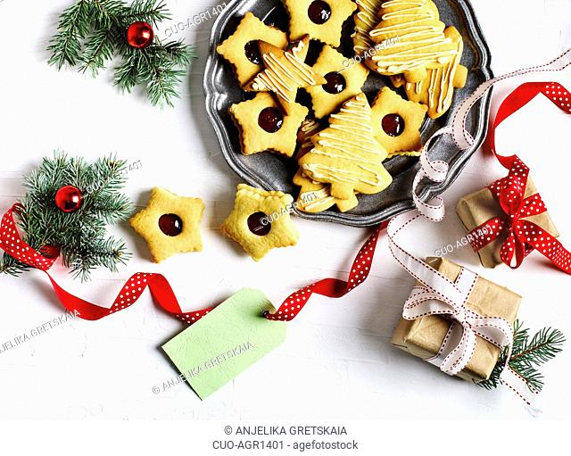 Linzer and sugar cookies. Christmas cookies on plate, copy space,top view